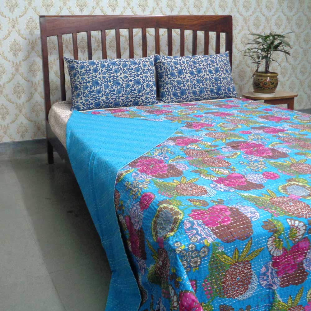 Kantha Cotton Queen Size Tropicana Aqua 101176