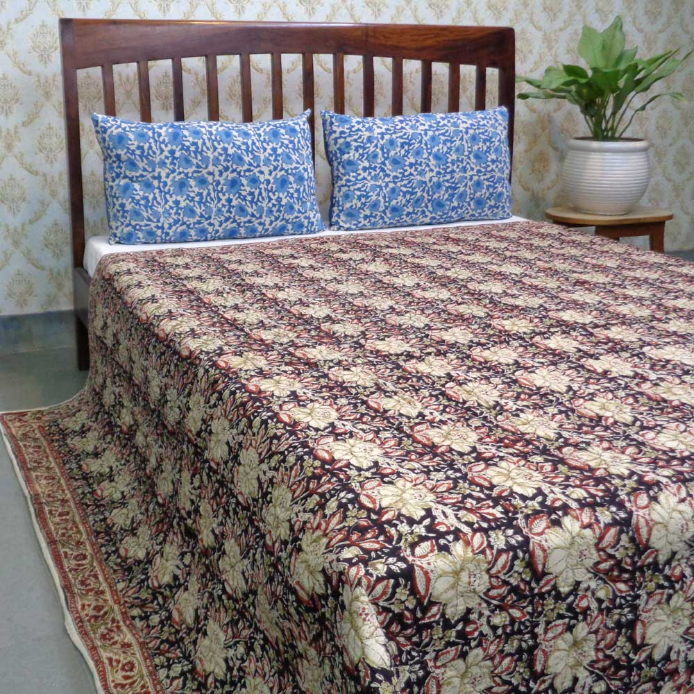 Hand Block Printed Cotton Kantha Quilt Queen Size | 104572