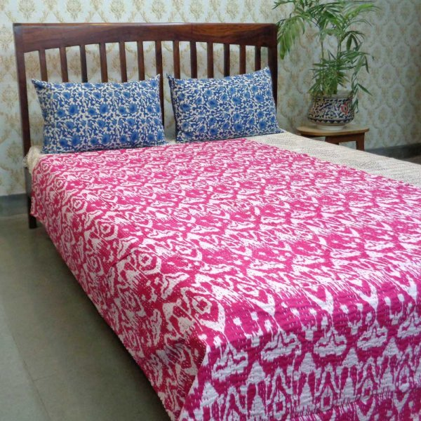 Ikat Raspberry Pink 5008 Kantha Quilted Throw