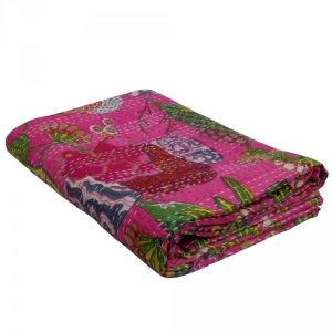 TROPICANA CANDY PINK 5743 Kantha Quilted Throw | Handmade Kantha Quilt