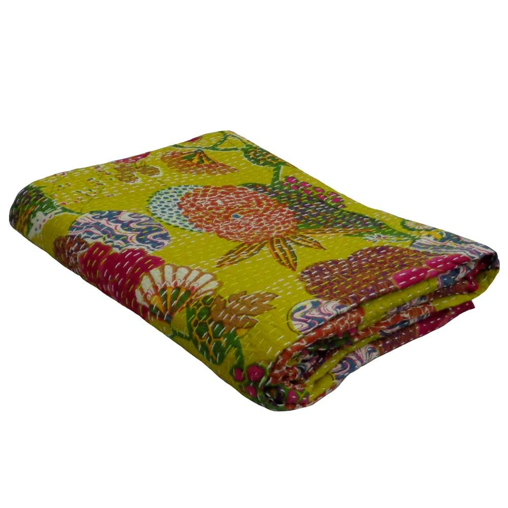 TROPICANA LIME GOLDEN 5719 Kantha queen Twin Size