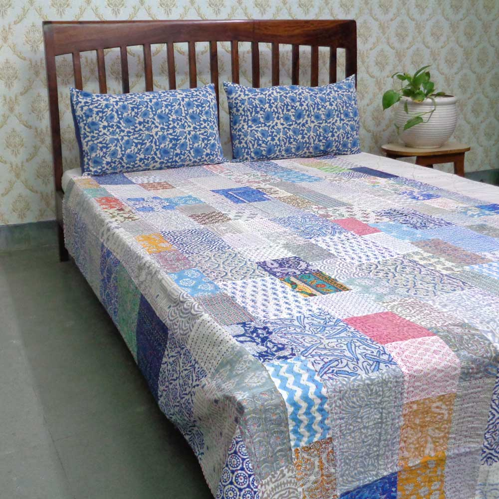 Hand Block Printed Cotton Twin Size Patchwork Bedspread Kantha | 108379