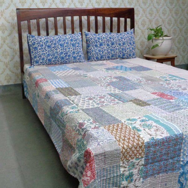 Hand Block Printed Cotton Twin Size Patchwork Bedspread Kantha | 108432
