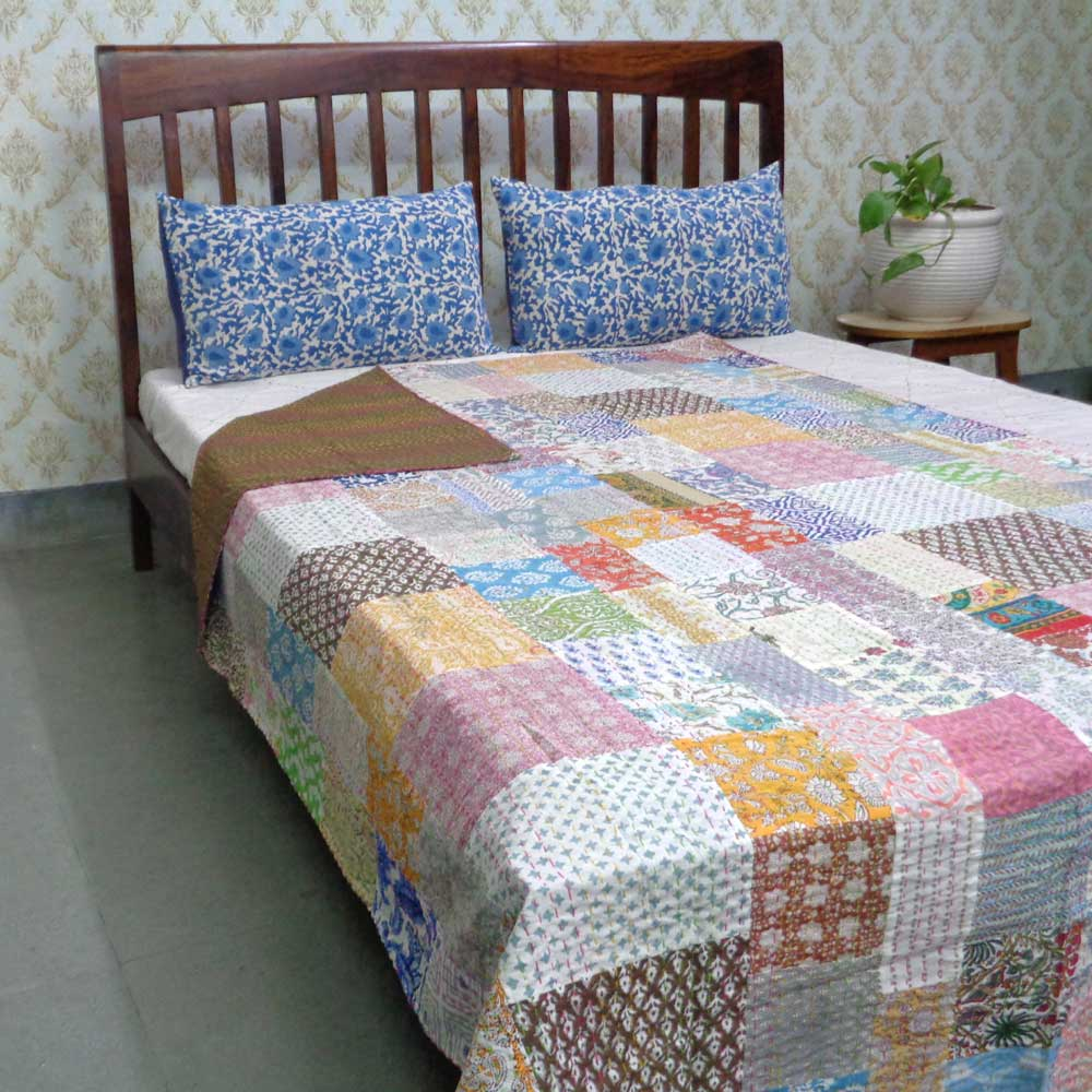 Hand Block Printed Cotton Twin Size Patchwork Bedspread Kantha | 108438