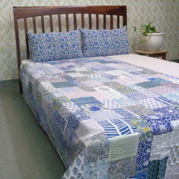 Hand Block Printed Cotton Twin Size Patchwork Bedspread Kantha | 109140
