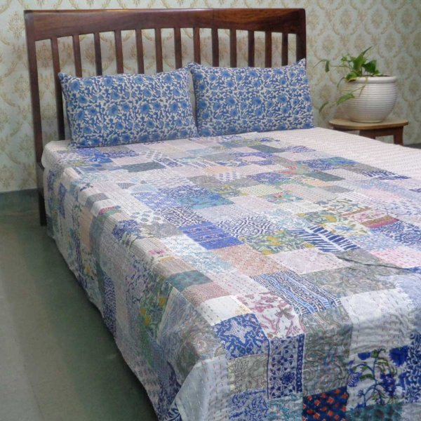Hand Block Printed Cotton Twin Size Patchwork Bedspread Kantha | 109173