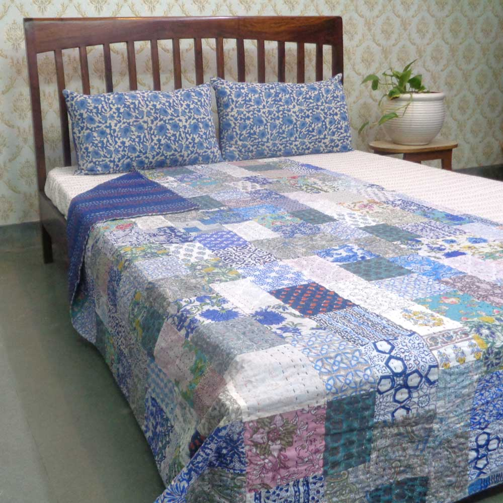 Hand Block Printed Cotton Twin Size Patchwork Bedspread Kantha | 109216