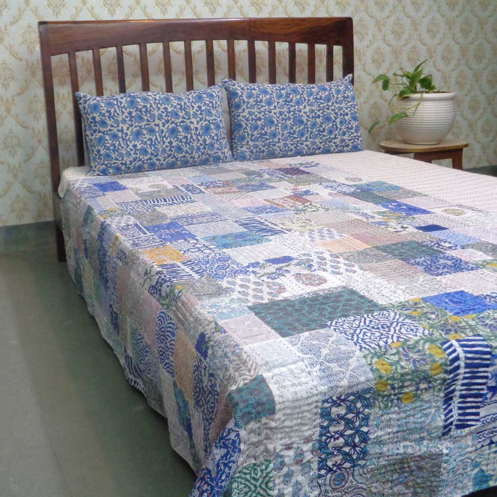 Hand Block Printed Cotton Twin Size Patchwork Bedspread Kantha | 109252