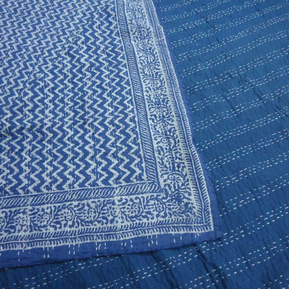 CHEVRON WHITE ON BLUE 3350 Kantha Quilt Hand Embroidered by Roopantaran Artisans