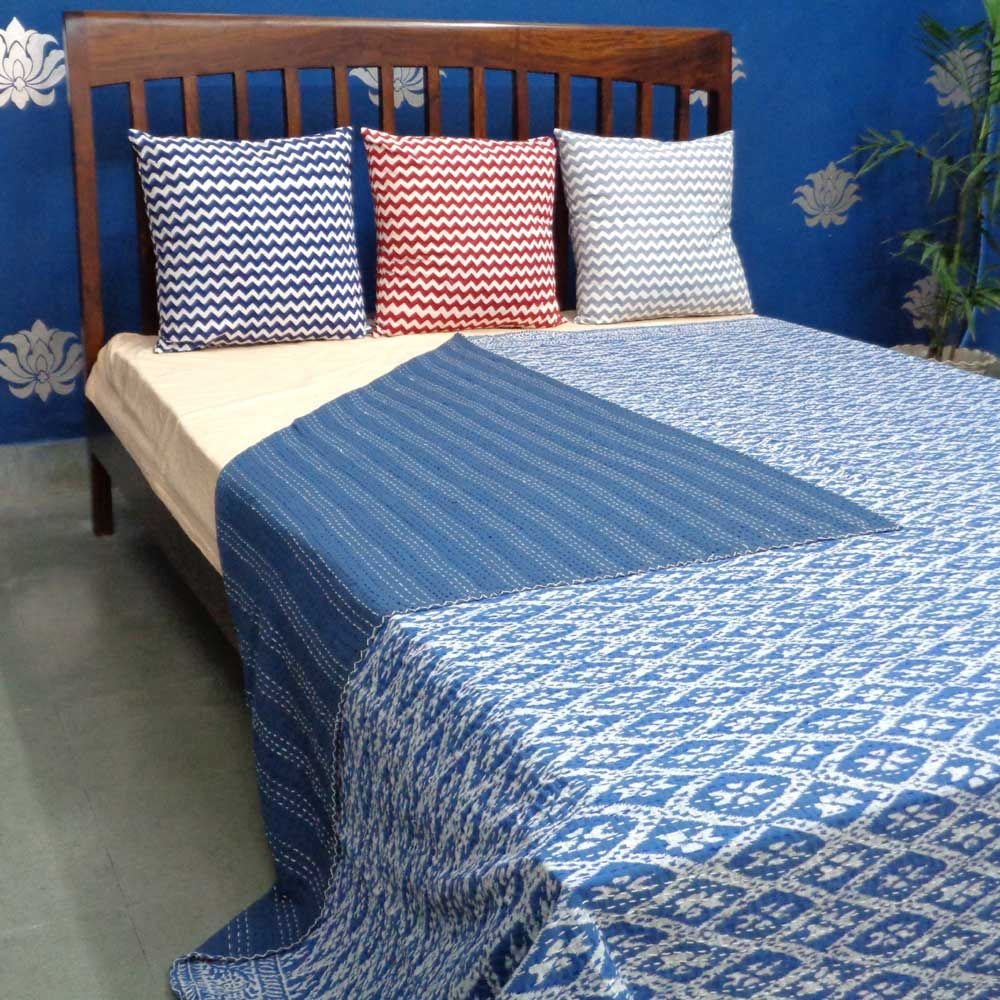 RHOMBUS WHITE ON BLUE 0297 Kantha Quilt Indian Bedspread Handmade