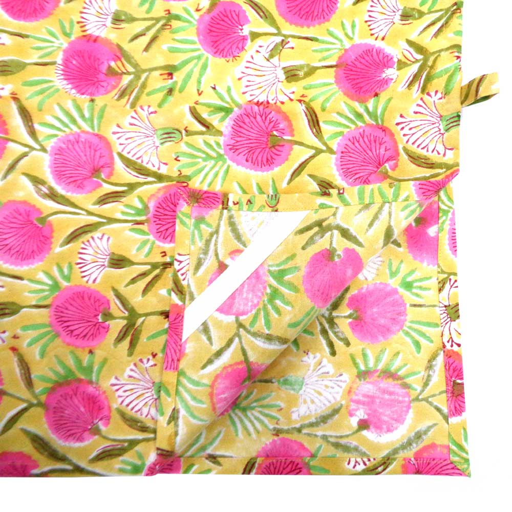 Hand Block Printed Cotton Kitchen Towels 50x70 cms | Desert Blossom Pink Gud 104974