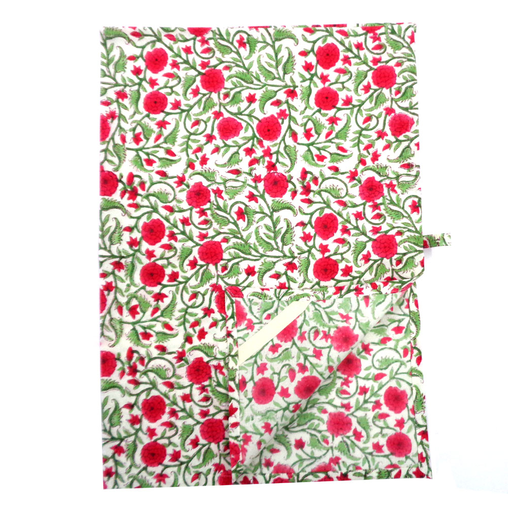 Hand Block Printed Cotton Kitchen Towels 50x70 cms | Desert Blossom Pink Open 104993