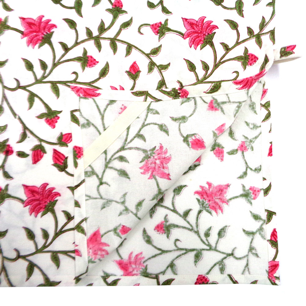Hand Block Printed Cotton Kitchen Towels 50x70 cms | Floral Bale Pink 104980