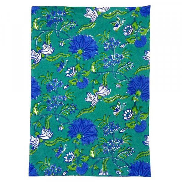 Hand Block Printed Cotton Kitchen Towels 50x70 cms | Flower Blossom Sea Green Gud 101323