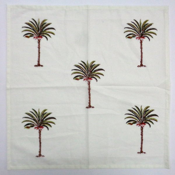 Hand Block Printed Set of 4 Cotton Napkin | Palm Tree Green 104893