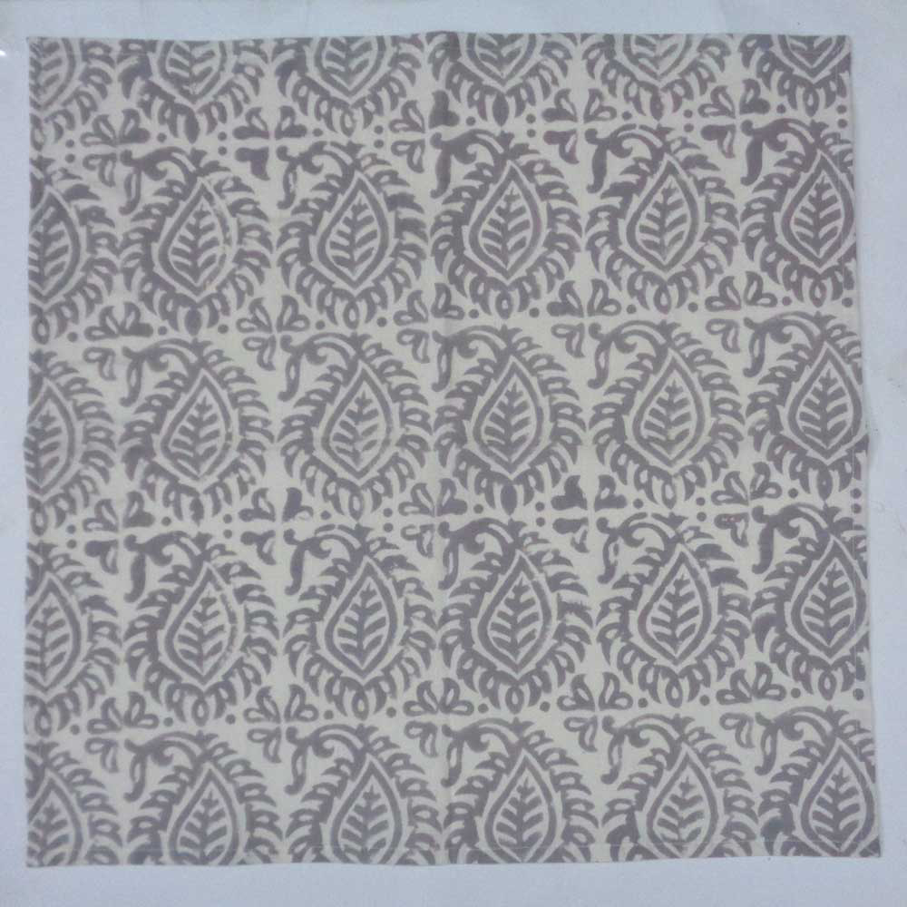 Hand Block Printed Cotton Napkin 45x45 (Set of 4 Napkins) | Leaf Grey 108462