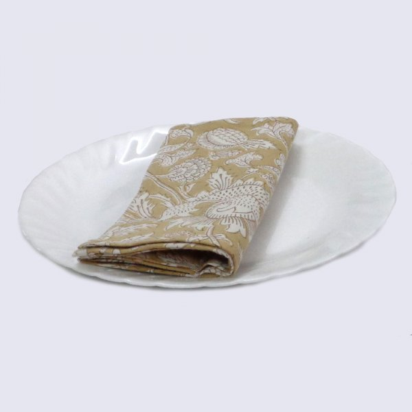 Hand Block Printed Cotton Napkin 45x45 (Set of 4 Napkins) | Amarnath Beige 109628