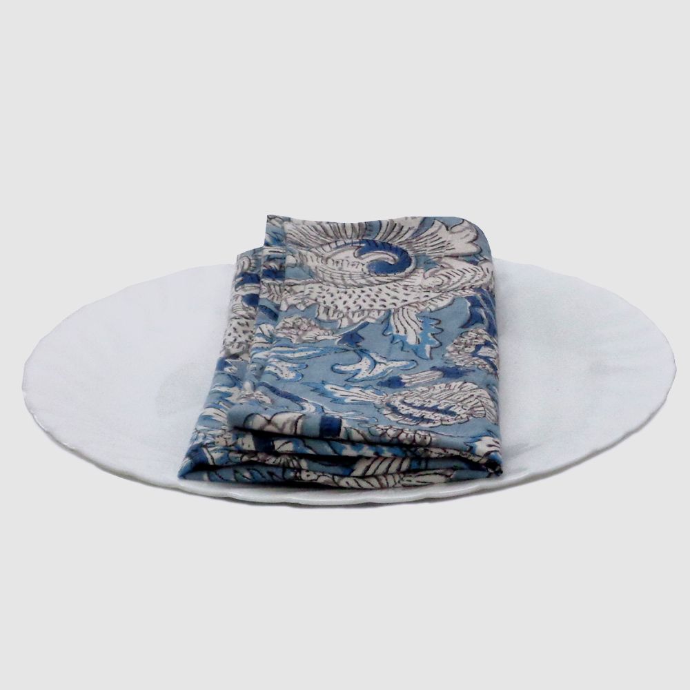 Hand Block Printed Cotton Napkin (Set of 4 Napkins) | Amarnath Grey Gud 100603