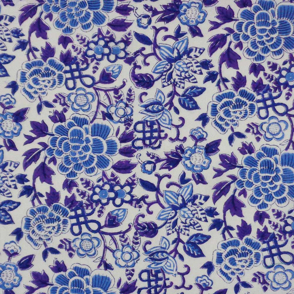 Hand Block Printed Cotton Napkin 45x45 (Set of 4 Napkins) | Floral Canvas Brandies Blue Open 100605