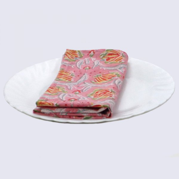 Hand Block Printed Cotton Napkin 45x45 (Set of 4 Napkins) | Frost Pink Floral Gud 100586