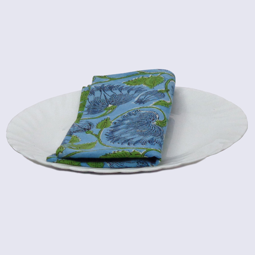 Hand Block Printed Cotton Napkin 45x45 cms (Set of 4 Napkins) | Kamal Aqua Gud 100364