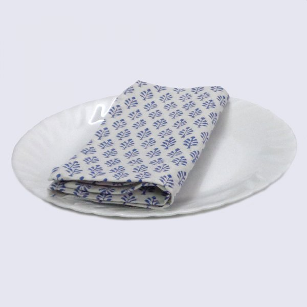 Hand Block Printed Cotton Napkin 45x45 (Set of 4 Napkins) | Neem Estate Blue 105637