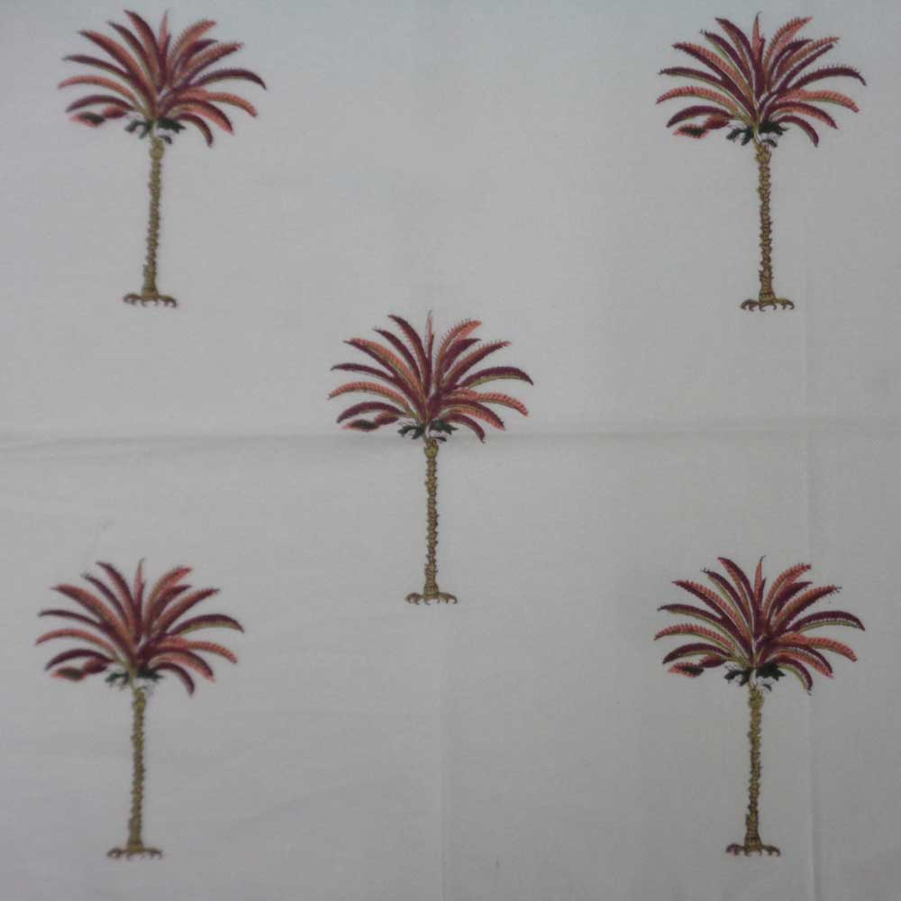 Hand Block Printed Cotton Napkin 45x45 cms (Set of 4 Napkins) | Palm Tree Pink 105346