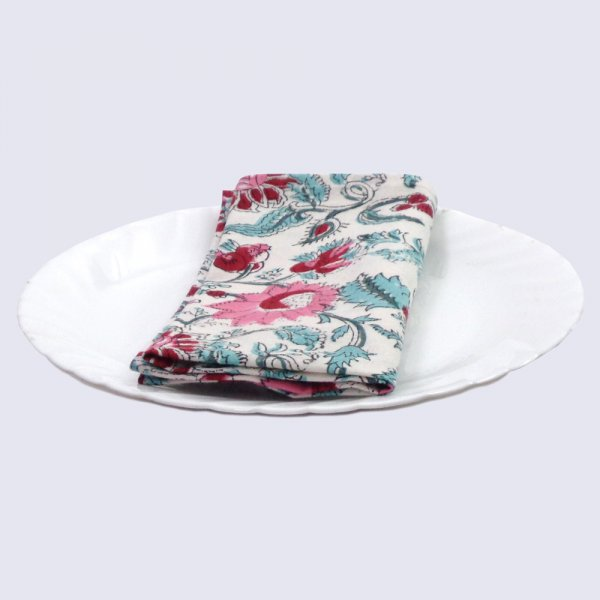 Hand Block Printed Cotton Napkin 45x45 cms (Set of 4 Napkins) | Phuljhari Open 102664