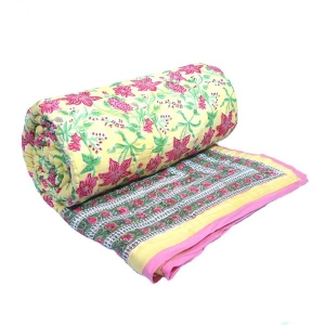 Nargis Lime Queen Quilt in Soft Cotton Hand Block Printed