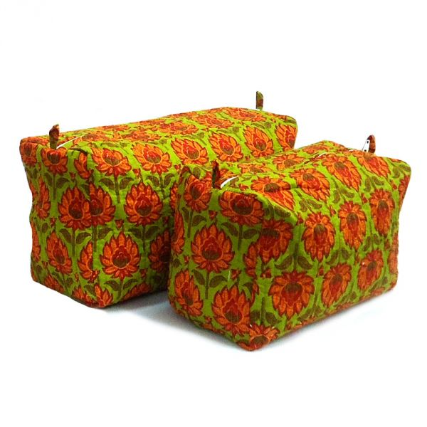 Coin Purse multi purpose cotton quilted olive orange flower SKU 10034