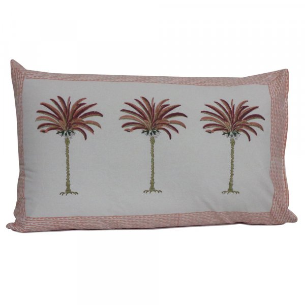 Hand Block Printed Cotton Pillows Cover 50x75 cm (Set of 2) | Palm Tree Pink 200318
