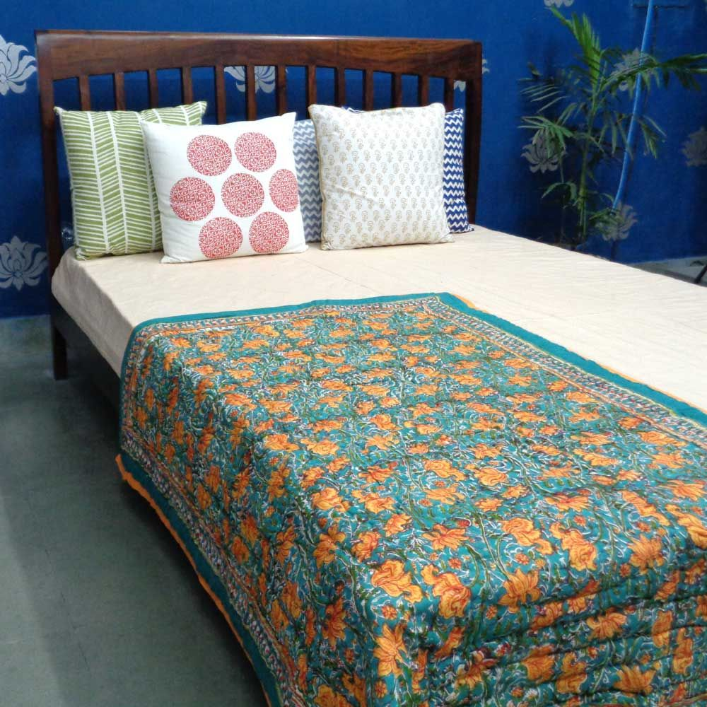 Baby Quilt for Toddler, Hand Block Printed | Orange Lotus 0695