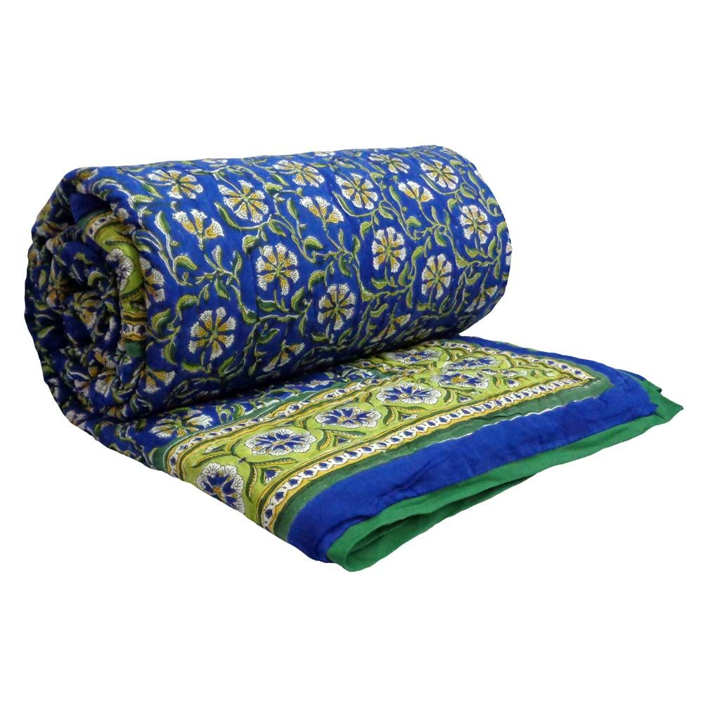 CHAKRI BLUE Indian Quilt Queen Double Bed Size Block printed on Cotton SKU 0945