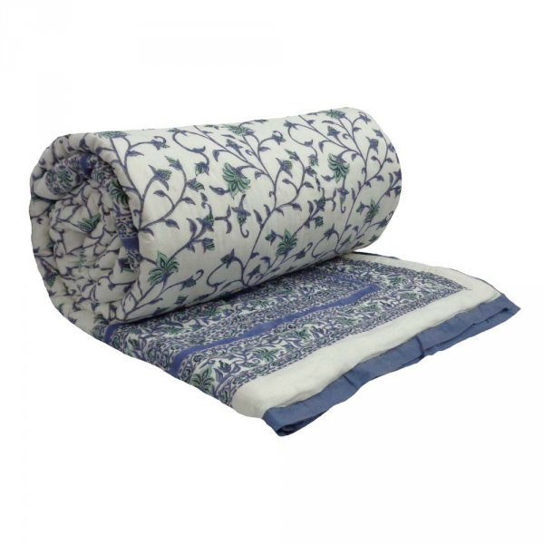 Hand Block Printed Cotton Queen Size Quilt | Floral Bale Blue 204851