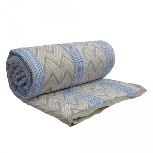 CHEVRON GREY STRIPE 1578 Twin size Queen Quilt in muted Grey Hand Block Printed