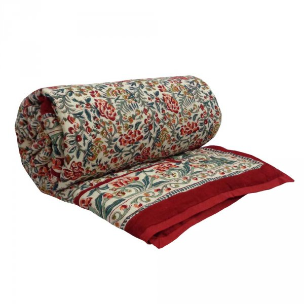Indian Hand Block Printed Cotton Twin Quilt | Jungle King Red 1626