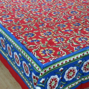 Floral Cotton Tablecloth in CHAKRI RED Print Handmade | Block Printed Tablecloths