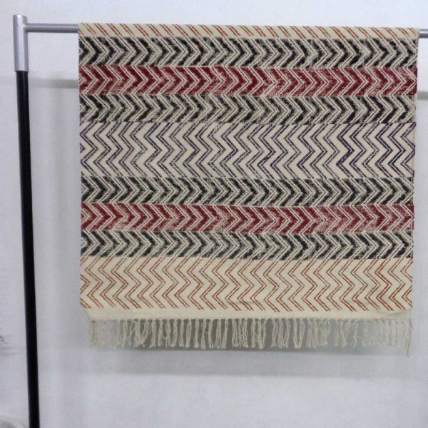 3 x 5 Feet Resist Print Hand Block Printed RUGS | Chevron 109950