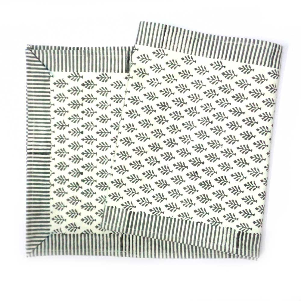 Neem Grey Salli 104970 Table Runner Cotton Canvas Hand Block Printed