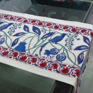 Flower Bird 1529 Table Runner Cotton Canvas Hand Block Printed