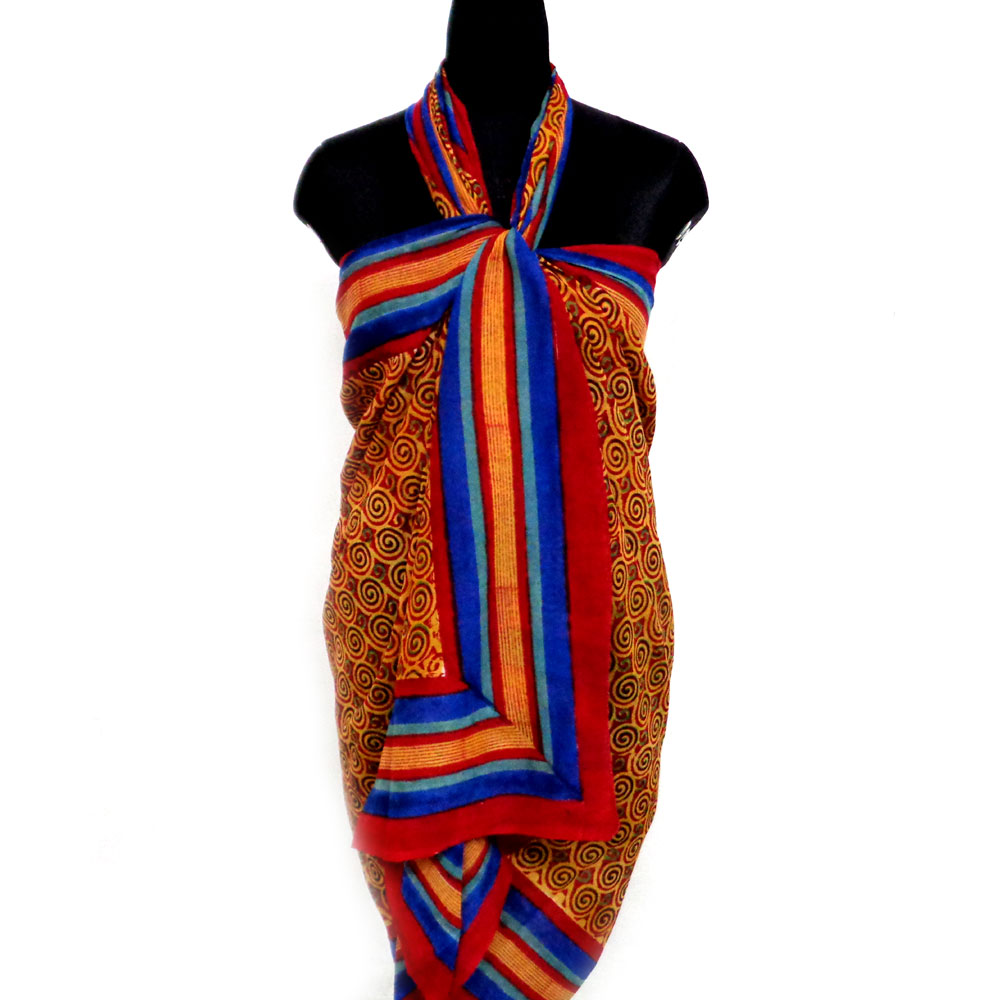 Beach Wrap Sarong Women's Swimwear Wraparound Pareo Soft Cotton Hand Block Printed | Jalebi Stripe 105326