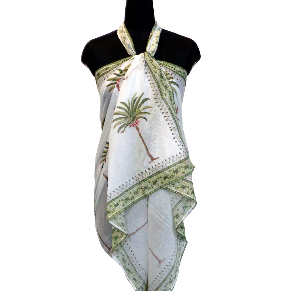 Beach Wrap Sarong Women's Swimwear Wraparound Pareo Soft Cotton Hand Block Printed | Palm Tree Green 105227