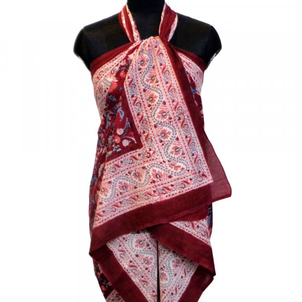 Beach Wrap Sarong Women's Swimwear Wraparound Pareo Soft Cotton Hand Block Printed | Rukhsana Maroon Gud 105354