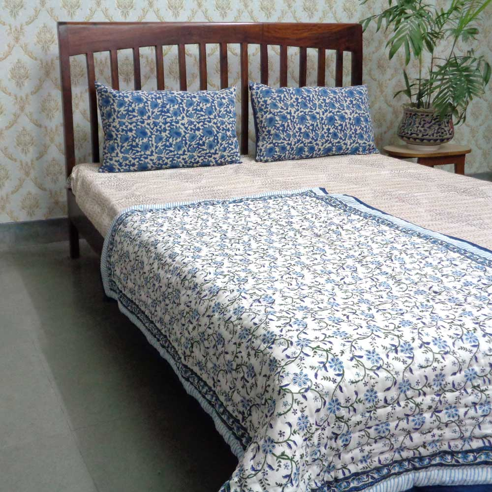 Baby Quilt for Toddler, Hand Block Printed | Ragini Blue 102985