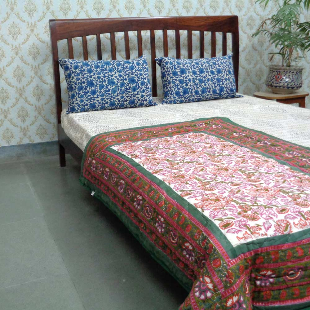 Baby Quilt for Toddler, Hand Block Printed | Amarnath Green 104386