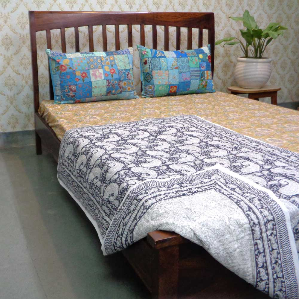 Baby Quilt for Toddler, Hand Block Printed Cotton Quilt | Ambi Neel 105471