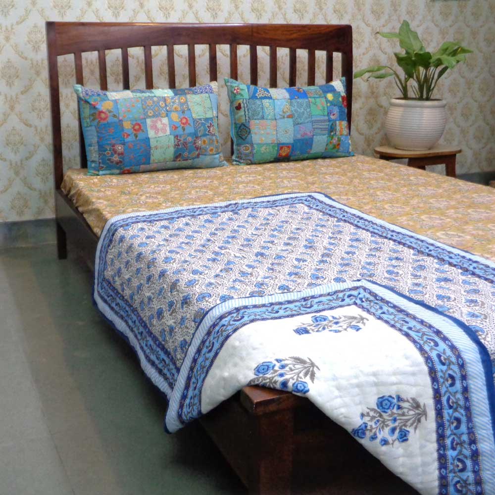Baby Quilt for Toddler, Hand Block Printed Cotton Quilt | Chain Link Booti Blue 105487