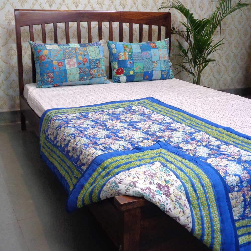 Baby Quilt for Toddler, Hand Block Printed Cotton Quilt | Gerbera Sky 201638