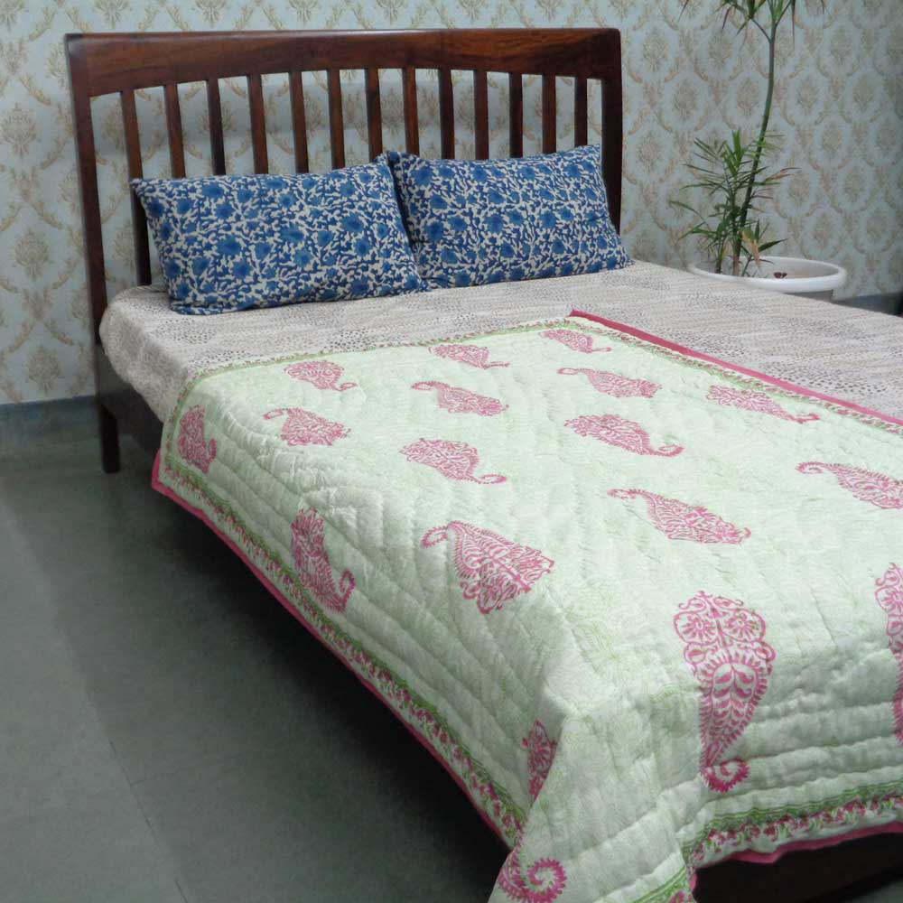 Baby Quilt for Toddler, Hand Block Printed | Gulabo 108699