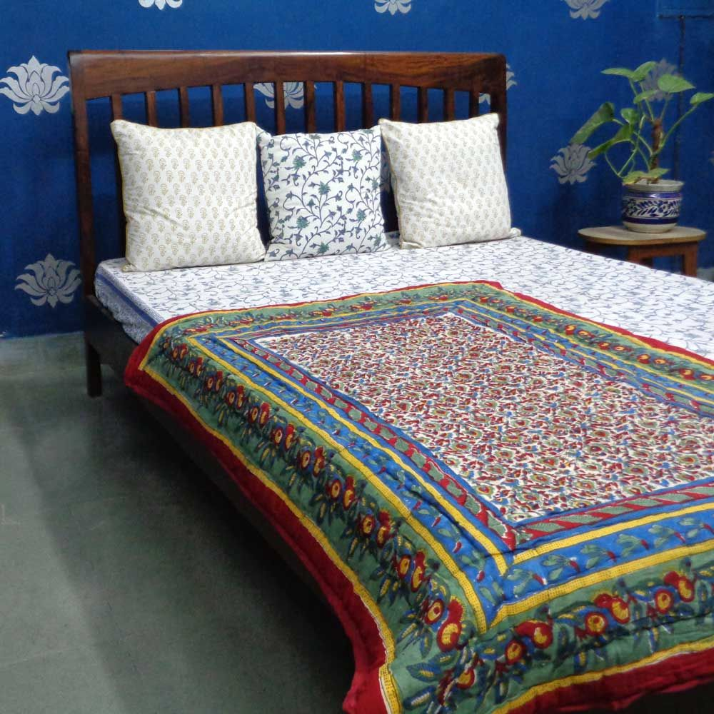 Indian Block Printed Soft Blanket Quilt for Baby LOVE BIRD 8464